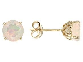 Ethiopian Opal 14k Yellow Gold Stud Earrings 1.41ctw.
