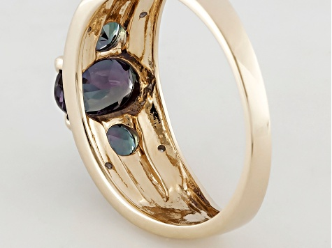 Color Change Lab Created Alexandrite 10k Yellow Gold Ring 1.45ctw.
