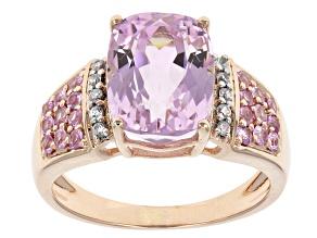 Pink Kunzite 10k Rose Gold Ring 4.18ctw.