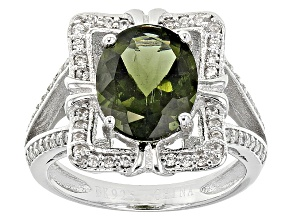 Green Moldavite Sterling Silver Ring 1.91ctw