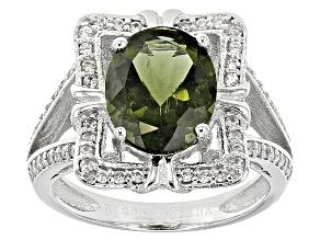 Green Moldavite Sterling Silver Ring 1.91ctw