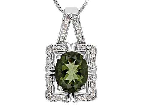 Green Moldavite Sterling Silver Pendant With Chain 1.91ctw