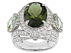 Green Moldavite Sterling Silver Ring 7.40ctw
