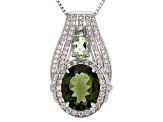 Green Moldavite, Prasiolite And White Zircon Sterling Silver Pendant With Chain 4.55ctw