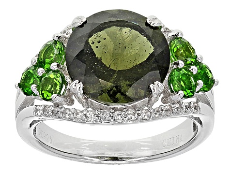Green Moldavite Sterling Silver Ring 2.96ctw