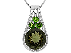 Green Moldavite Sterling Silver Pendant With Chain 2.96ctw
