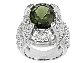 Green Moldavite Sterling Silver Ring 4.19ctw