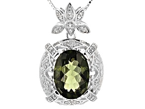 Green Moldavite And White Zircon Sterling Silver Pendant With Chain 4.19ctw