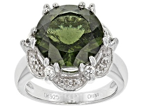 Green Moldavite Sterling Silver Ring 4.08ctw