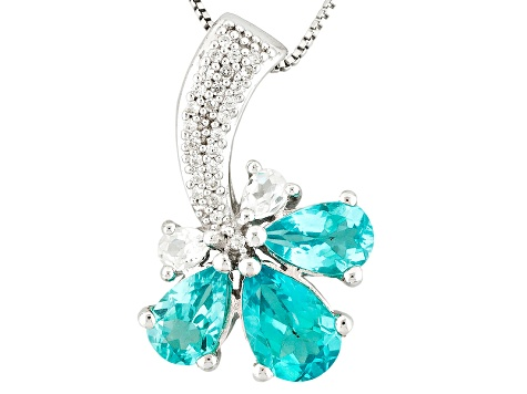 Paraiba Color Apatite Sterling Silver Pendant With Chain 2.53ctw