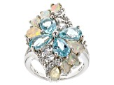 Paraiba Color Apatite Sterling Silver Ring 4.73ctw