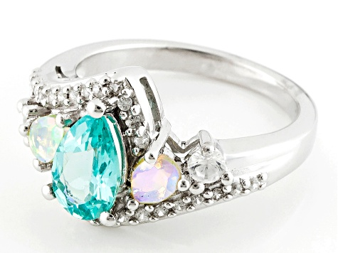 Paraiba Color Apatite Sterling Silver Ring 1.47ctw
