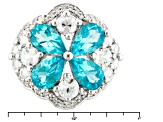 Paraiba Color Apatite And White Zircon Sterling Silver Ring 4.76ctw