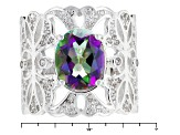 Green Mystic Quartz® And White Zircon Sterling Silver Ring 3.34ctw