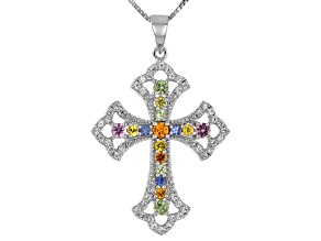 Multi-Sapphire Sterling Silver Cross Pendant With Chain 1.26ctw