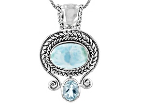 Blue Larimar Sterling Silver Pendant With Chain. 1.75ct