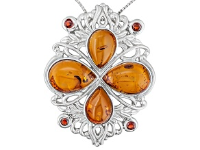 Orange Amber And Garnet Sterling Silver Pendant With Chain .62ctw