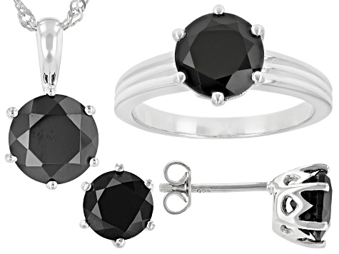 Black Spinel Rhodium OverSilver Ring, Earrings, Pendant With Chain Jewelry Set 9.46ctw