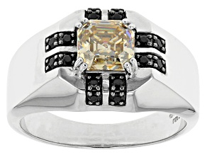 White Fabulite Strontium Titanate And Black Spinel Silver Mens Ring 2.57ctw