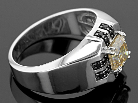 White Fabulite Strontium Titanate And Black Spinel Rhodium Over Sterling Silver Mens Ring 2.57ctw