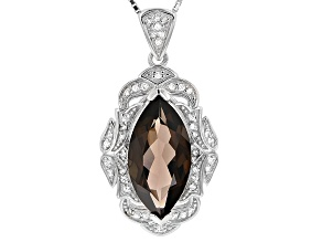 Brown Smoky Quartz Sterling Silver Pendant With Chain 5.39ctw