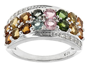 Multicolor Tourmaline And White Zircon Sterling Silver Ring 1.72ctw