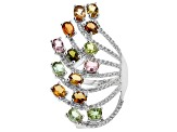 Multi Color Tourmaline Sterling Silver Ring 3.96ctw