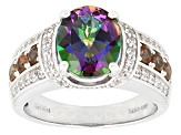 Multi Color Mystic Topaz® Sterling Silver Ring 3.38ctw
