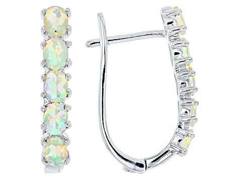 Ethiopian Opal Rhodium Over Sterling Silver Hoop Earrings 1.00ctw