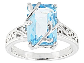Sky Blue Topaz Rhodium Over Sterling Silver Ring 3.95ctw