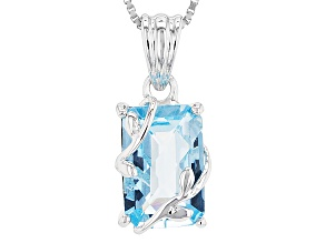 Sky Blue Topaz Rhodium Over Sterling Silver Pendant With Chain 3.95ctw