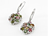 Multi-Color Tourmaline Rhodium Over Sterling Silver Earrings 3.34ctw