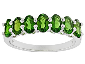 Green Chrome Diopside Sterling Silver 7-Stone Ring 1.48ctw