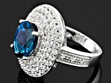 London Blue And White Topaz Sterling Silver Ring 4.16ctw