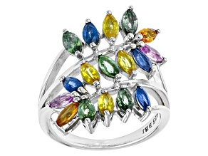 Multi-Color Sapphire Sterling Silver Ring. 2.89ctw