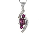 Red Star Ruby Sterling Silver Pendant With Chain 3.27ctw