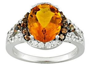 Orange Brazilian Madeira Citrine Sterling Silver Ring 2.59ctw