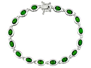 Green Russian Chrome Diopside Sterling Silver tennis Bracelet 6.80ctw