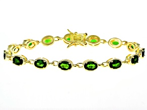 Green Chrome Diopside 18k Yellow Gold Over Silver Bracelet 6.94ctw