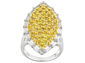 Yellow Sapphire Sterling Silver Ring. 5.80ctw