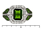Green Chrome Diopside And White Zircon Sterling Silver Ring 1.88ctw