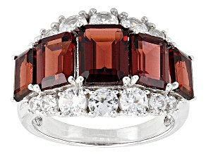 Red Garnet And White Zircon Sterling Silver Ring 6.50ctw