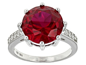 Red Lab Created Ruby Sterling Silver Ring 6.68ctw