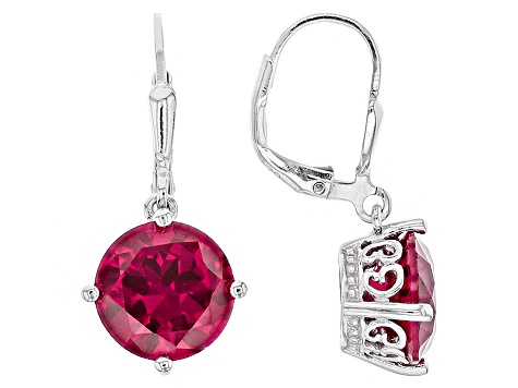 65243729b Red Lab Created Ruby Sterling Silver Dangle Earrings 7.14ctw ...