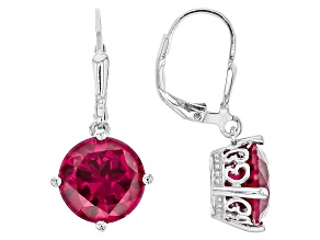Red Lab Created Ruby Rhodium Over Sterling Silver Dangle Earrings 7.14ctw