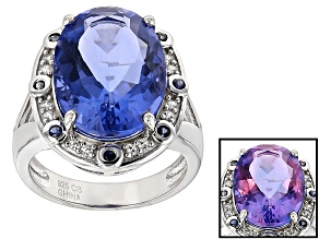 Blue Color Change Fluroite Rhodium Over Sterling Silver Ring. 11.26ctw