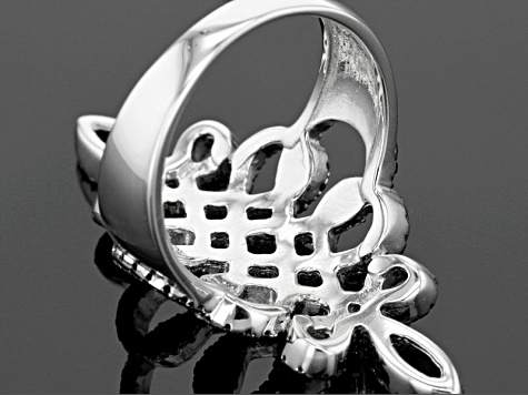 Black Spinel Sterling Silver Ring .94ctw