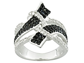 Black Spinel Sterling Silver Bypass Ring .69ctw