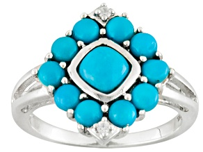 Blue Turquoise Sterling Silver Ring .03ctw