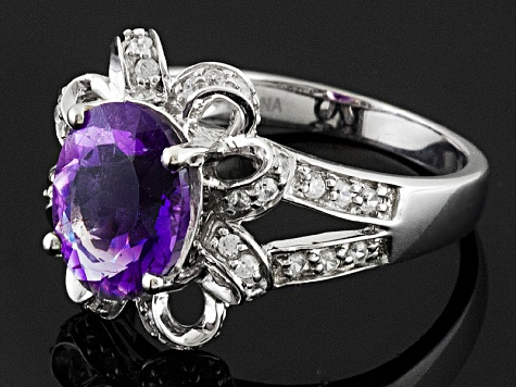 Purple Amethyst Sterling Silver Ring 2.31ctw